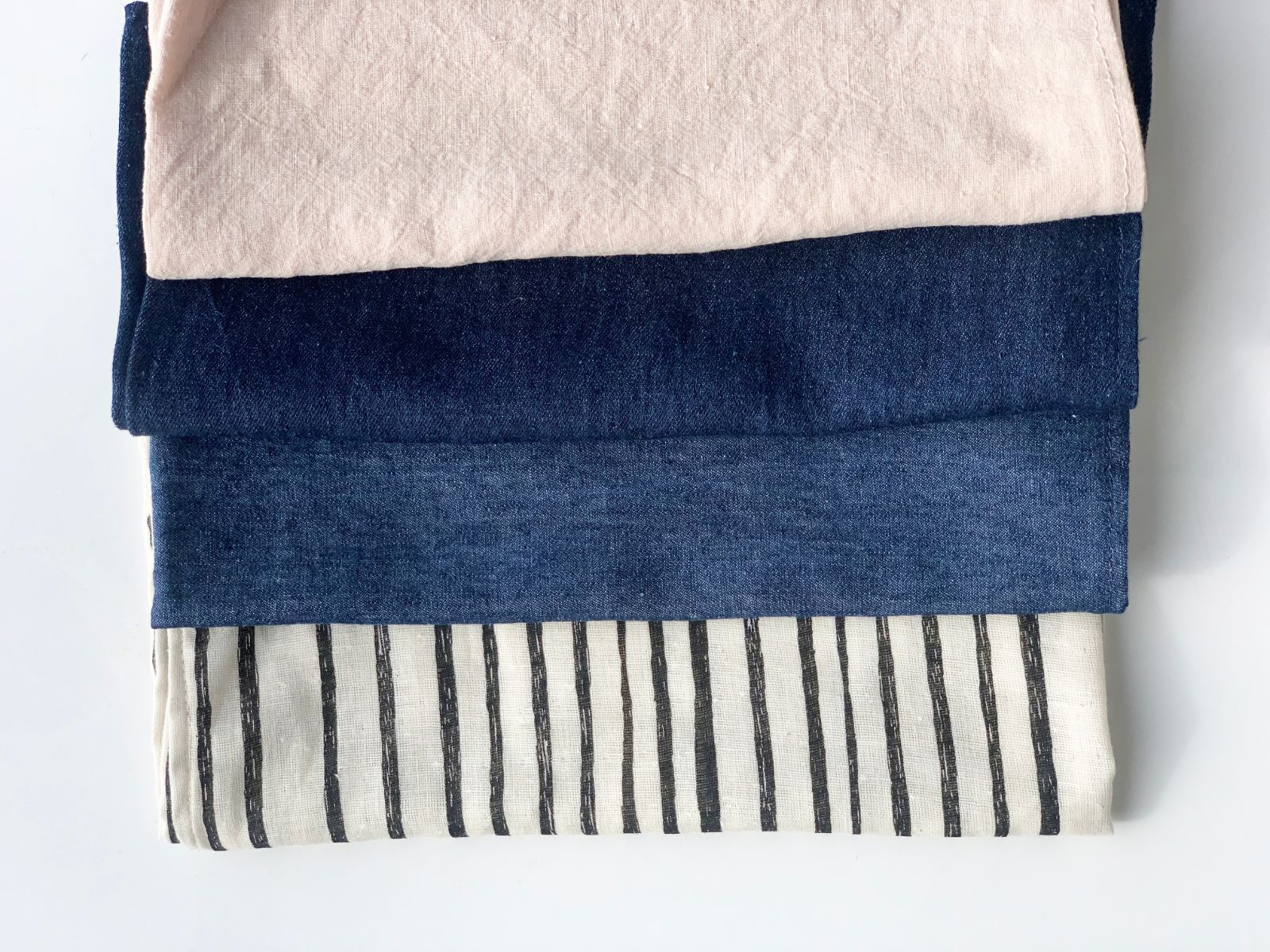 Together Segal face covering in blush, indigo and stripe - full range