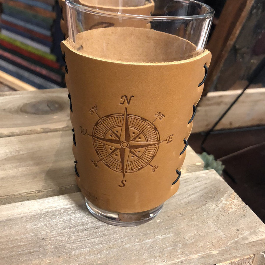 Leather Pint Glass Set - Compass Rose