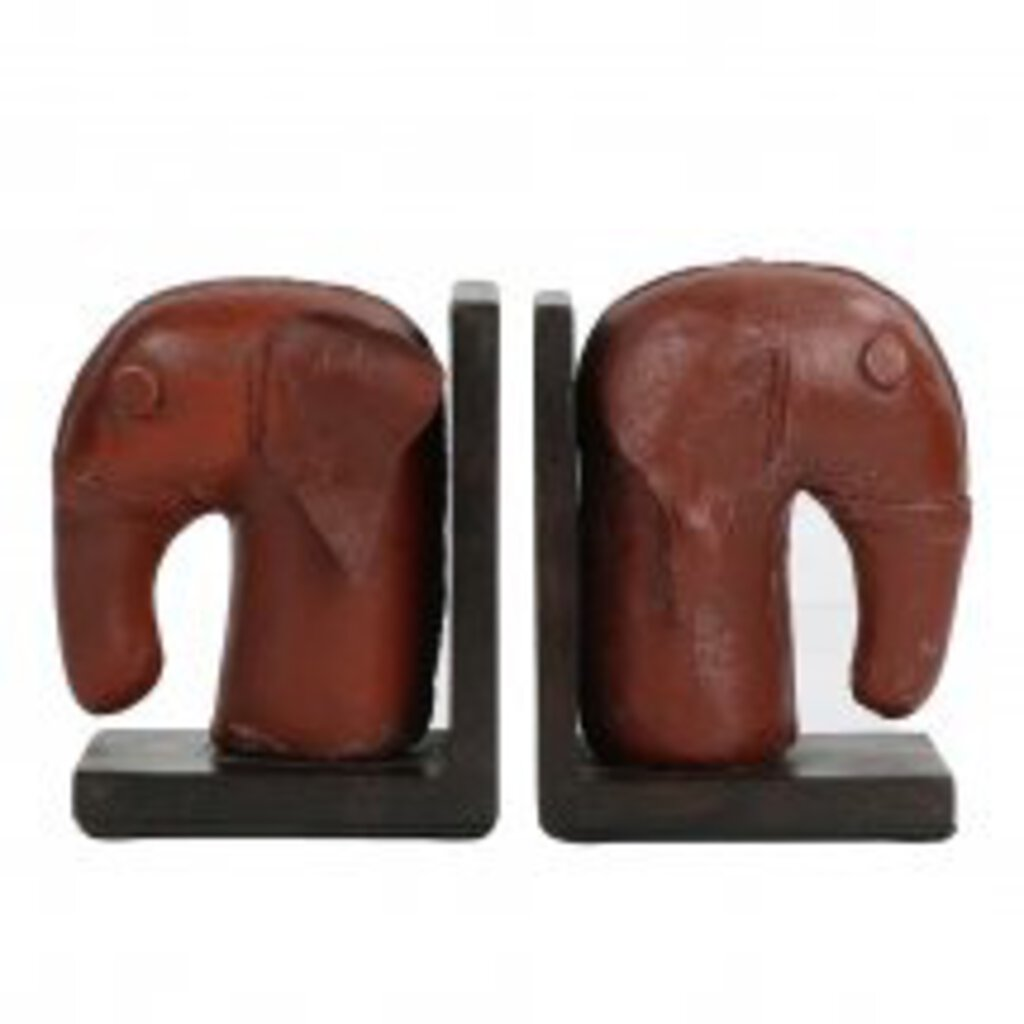 Leathersmith's Elephant Bookends, Pair