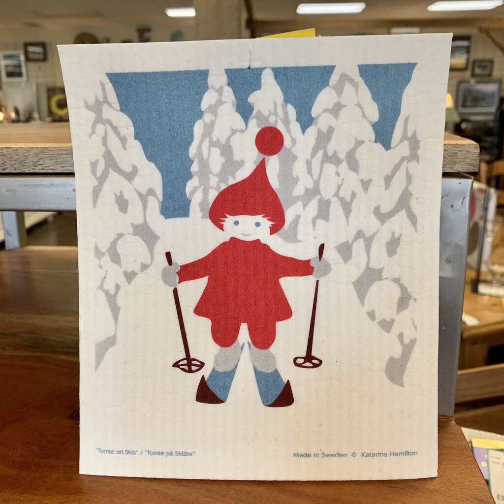 Skiing Tomte Swedish Dishtowel