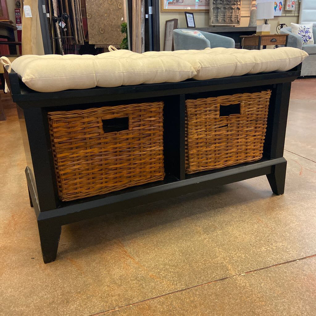 Crate & Barrel Black Entrybench w Cushions & Baskets