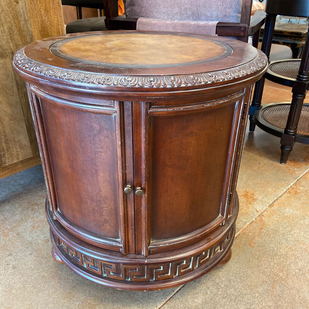 Vintage Round Carved Leather Top Cabinet, 24 x 24