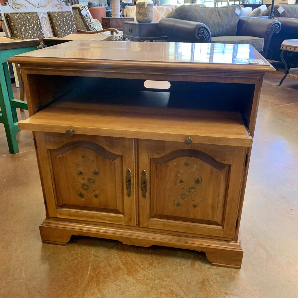 Wooden Entertainment Center w/ Antique Floral Decoration