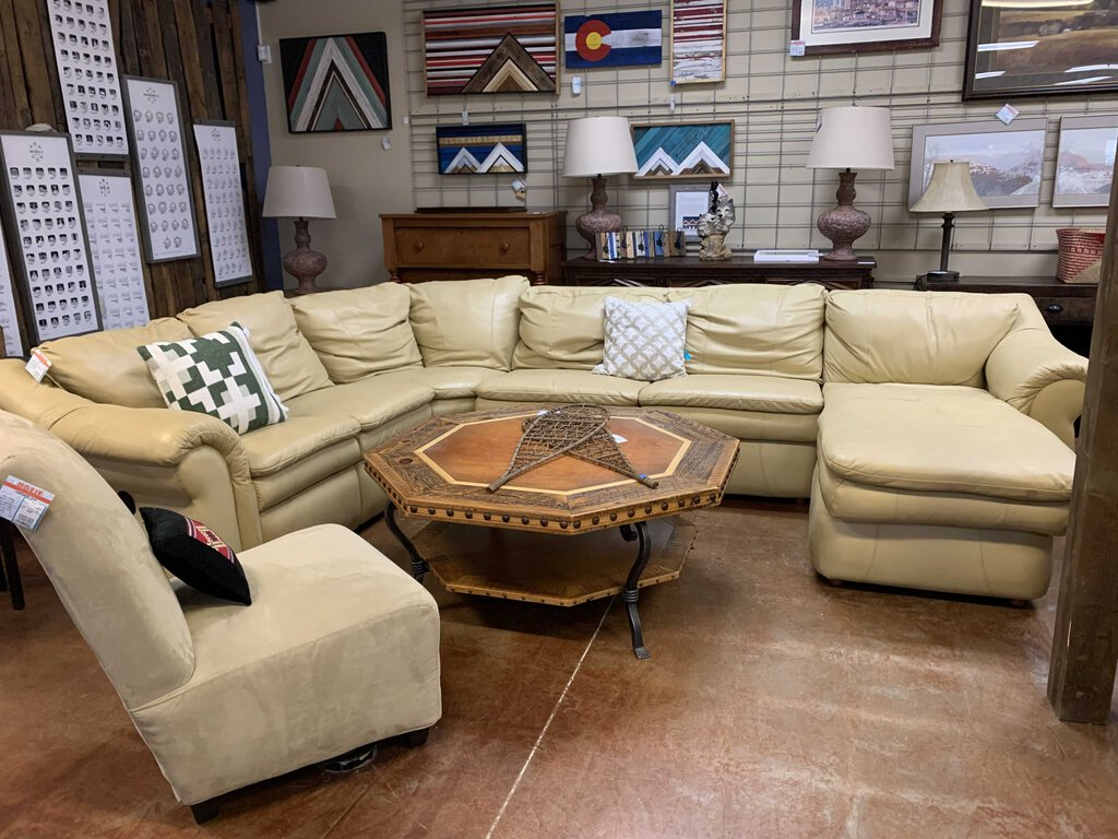 Beige Leather Lazy Boy Sectional with Recliner, Sleeper, Chaise