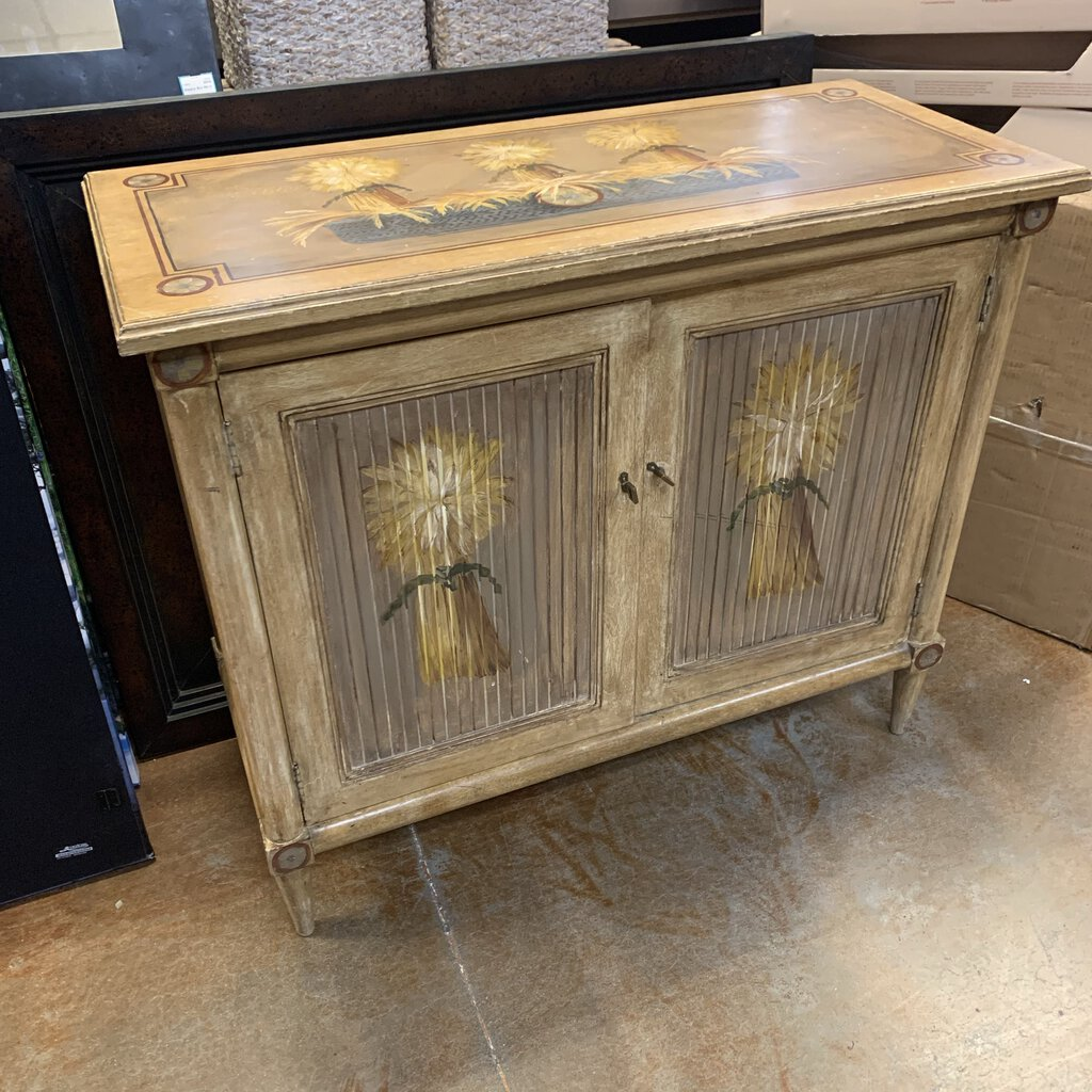 Wheat Stalk Hand Painted Vintage Cabinet