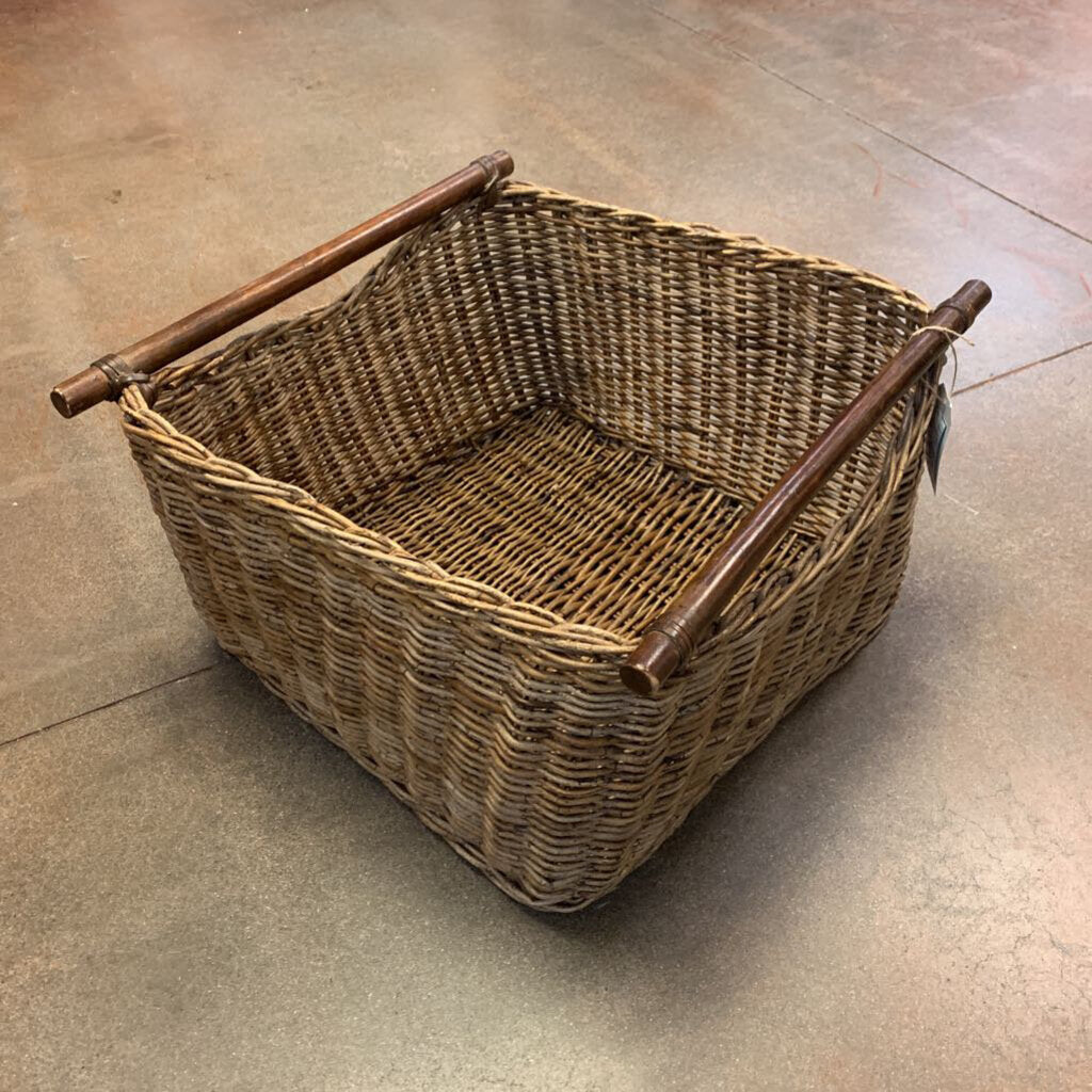Oversized Woven Wicker Basket w/ Wooden Handles