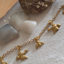Load image into Gallery viewer, Tiny Birds and Bees Charm Bracelet in Gold and Brass