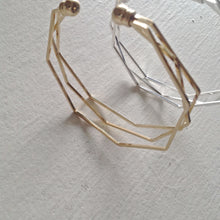 Load image into Gallery viewer, Multi Layered Avant-Garde Geometric Statement Bracelet in Gold and Silver
