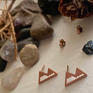 Tiny Mountain Stud Earrings in Rose Gold