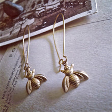 Load image into Gallery viewer, Tiny Raw Brass Honeybee Charm Kidney Wire  Drop Earrings