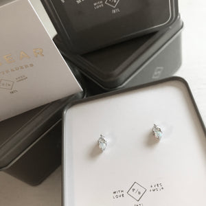 Opal and Rhinestone Stud Earrings in Sterling Silver With Gift Packaging
