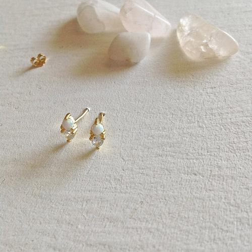 Opal and Rhinestone Stud Earrings in Gold Vermeil
