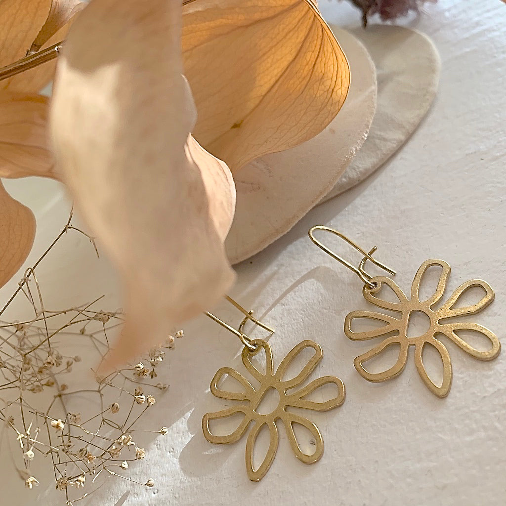 Flower Drop Earrings in Raw Brass