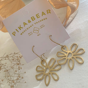 Flower Drop Earrings in Raw Brass on Gift Card