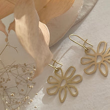 Load image into Gallery viewer, Flower Drop Earrings in Raw Brass