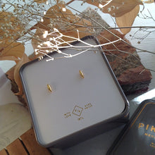 Load image into Gallery viewer, Rice Grain Stud Earrings in Gold Vermeil in Gift Box