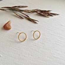 Load image into Gallery viewer, Textured Circle Stud Earrings in Gold