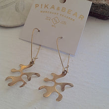Load image into Gallery viewer, Coral Drop Earrings on Kidney Wire in Raw Brass on Gift Card