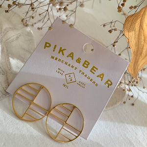 Art Deco Circle Stud Earrings in Gold on Gift Card