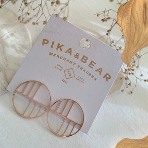 Art Deco Circle Stud Earrings in Rose Gold on Gift Card