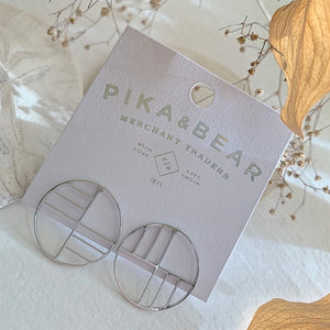 Art Deco Circle Stud Earrings  in Silver on Gift Card