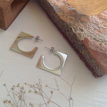 Load image into Gallery viewer, Mid-century cubist hoop earrings in silver