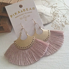 Load image into Gallery viewer, Brass drop earrings with threaded fan detail in Lilac