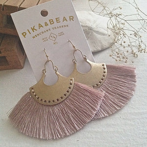 Brass drop earrings with threaded fan detail in Lilac