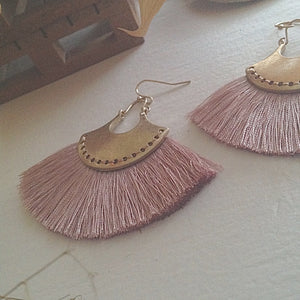 Brass drop earrings with threaded fan detail in blush and lilac