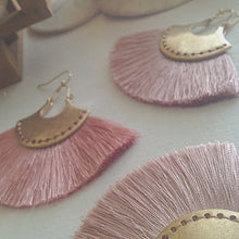 Load image into Gallery viewer, Brass drop earrings with threaded fan detail in blush and lilac