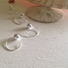 Load image into Gallery viewer, Sterling Silver Hoop Hugger Earrings With Ball End