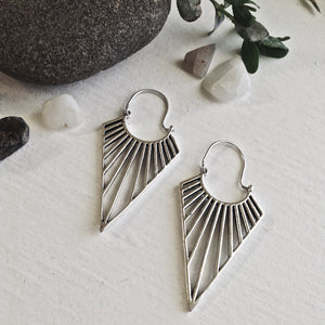 Art Deco Cascading Ray Drop Hoop Statement Earrings in Brass and Silver