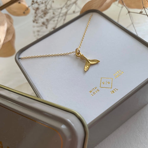 Tiny Gold Vermeil whale tail charm necklace