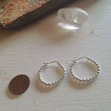 Load image into Gallery viewer, Beaded Sterling Silver Hoop Earrings