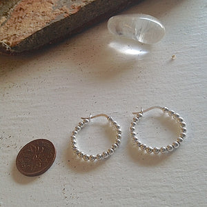 Beaded Sterling Silver Hoop Earrings