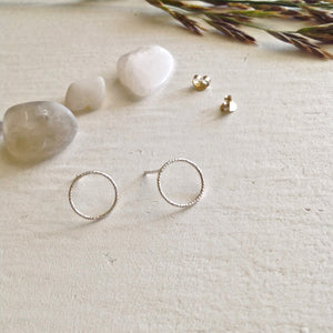 Modern and  Minimal Textured CIrcle Earrings in Gold Vermeil and SilverTextured Minimal hoop stud earrings in sterling silver and gold vermeil