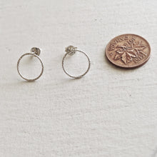 Load image into Gallery viewer, Modern and  Minimal Textured CIrcle Earrings in Gold Vermeil and Silver
