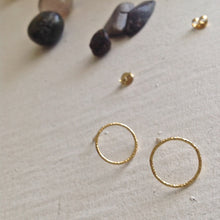 Load image into Gallery viewer, Modern and  Minimal Textured CIrcle Earrings in Gold Vermeil and SilverTextured Minimal hoop stud earrings in sterling silver and gold vermeil
