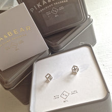 Load image into Gallery viewer, Modern Geometric Hollow Cube Stud Earrings in Sterling Silver