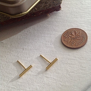 Minimalist Gold vermeil thin bar stud earrings