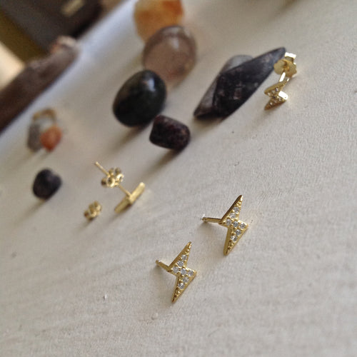 Pave gold vermeil lightning bolt stud earrings