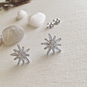 Sterling Silver Starburst Stud Earrings with Swarovski Crystals