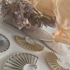 Cascading Ray Statement Fan Drop Earrings in Brass and Silver