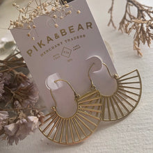 Load image into Gallery viewer, Cascading Ray Statement Fan Drop Earrings in Brass and Silver