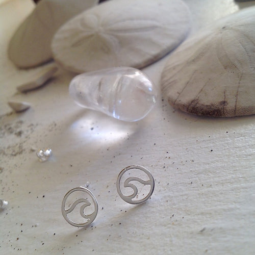 Ocean Breaking Wave Stud Earrings in Sterling Silver