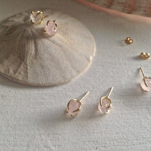 Load image into Gallery viewer, Gold Vermeil Rough Cut Stone Claw Set Earrings in Rose Quartz, Black Agate, and Clear Quartz
