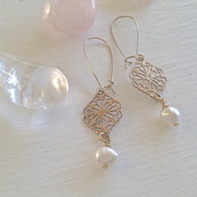 Load image into Gallery viewer, Raw Brass Filigree Vintage Inspired Kidney Wire Drop Earrings with Freshwater Pearls