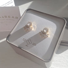 Load image into Gallery viewer, Fancy Baroque Style Evening Wear Rhinestone Stud Earrings in Gold Vermeil and Sterling Silver