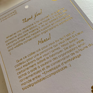Pika and Bear Necklace Gift Packaging in Gold