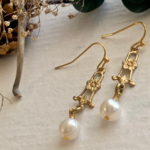 Romantic Victorian Brass Drop with Flower and freshwater pearl earrings